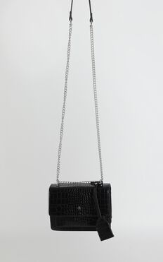 Peta And Jain - Lissy Chain Bag In Black Croc