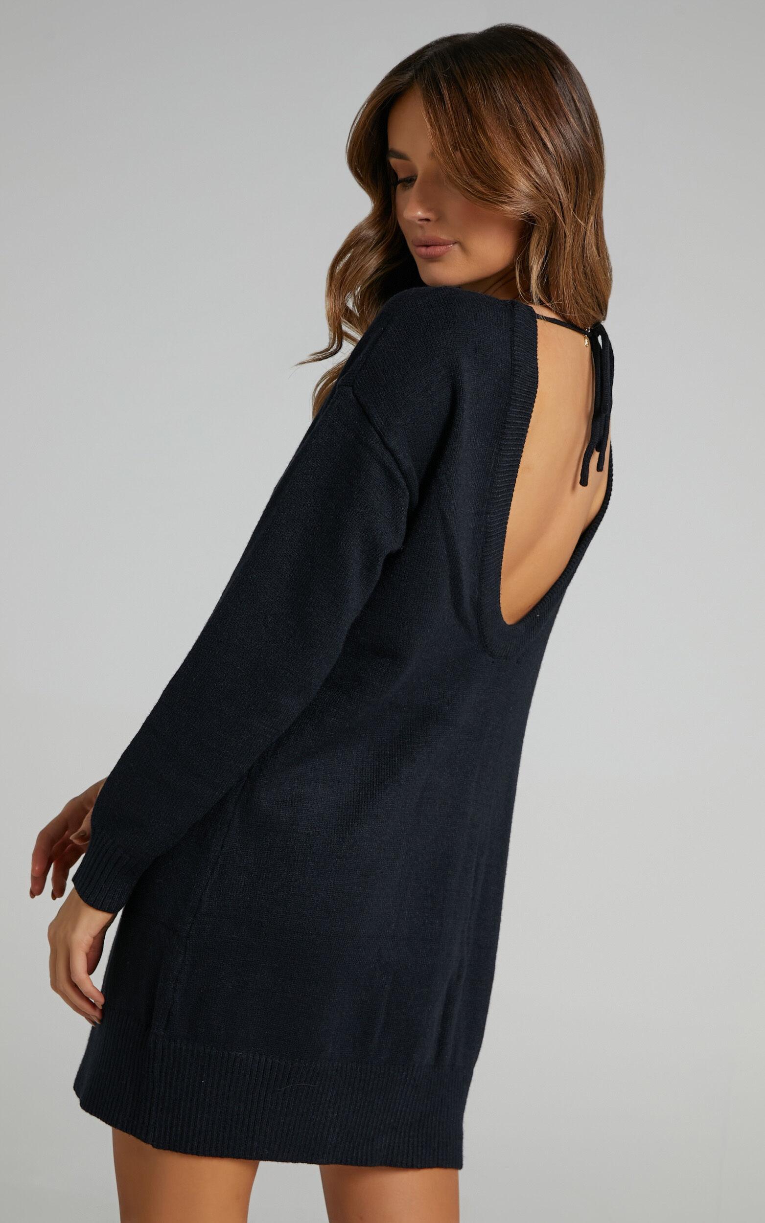 Shanisse Open Back Mini Knit Dress in Black - 04, BLK1, super-hi-res image number null