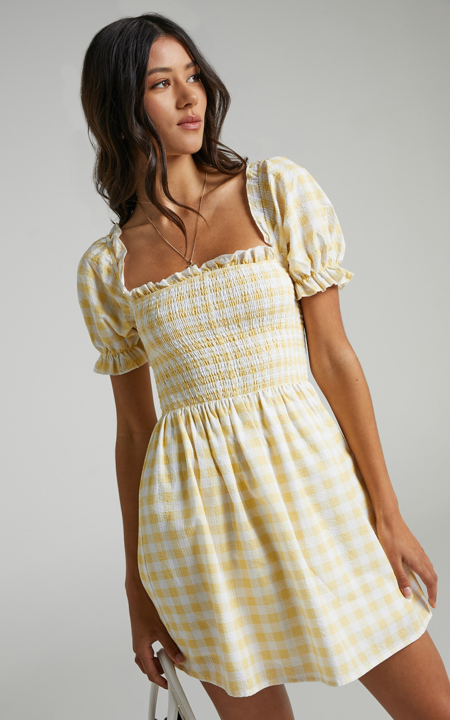 Charlie Holiday - Sienna Dress in Yellow Gingham - 06, YEL1, super-hi-res image number null