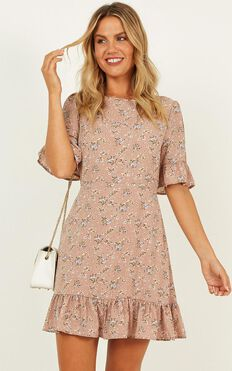 Only The Best Dress In Mocha Floral