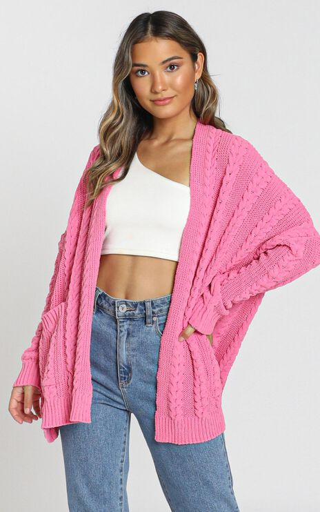 Francesca Cable Knit Cardigan In Pink