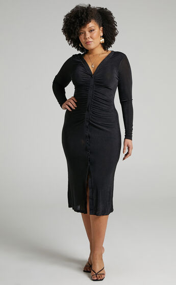 Keagan Ruched Button Front Midi Dress in Black