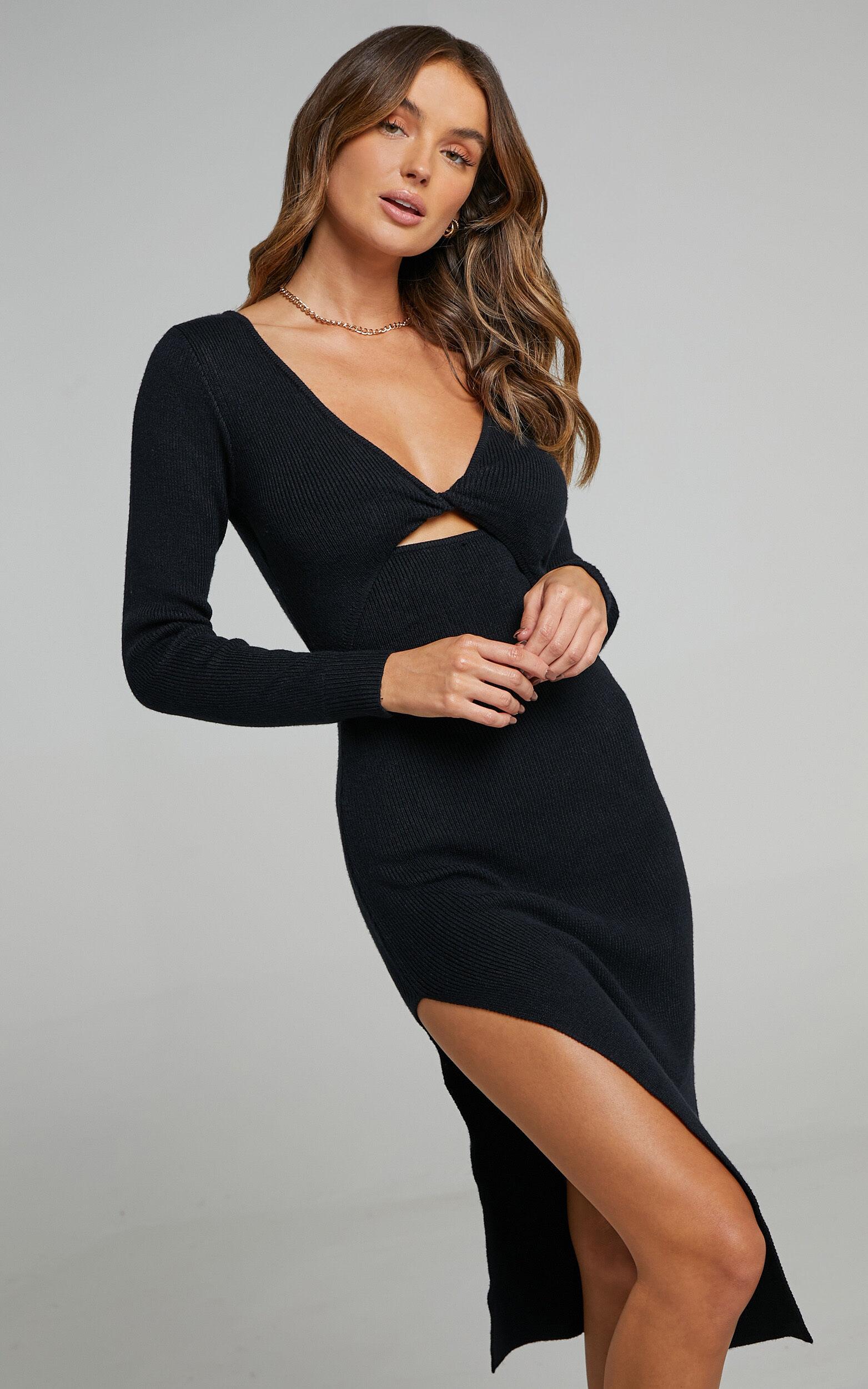 Irmia Twist Front Knit Midi Dress in Black - 20, BLK1, super-hi-res image number null