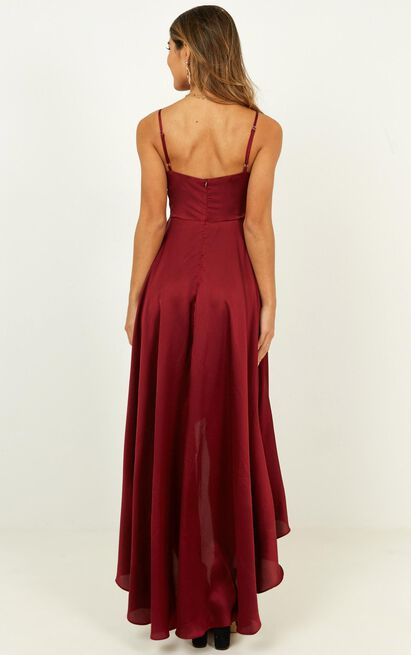 Light The Way Dress in wine satin - 16 (XXL), Wine, hi-res image number null