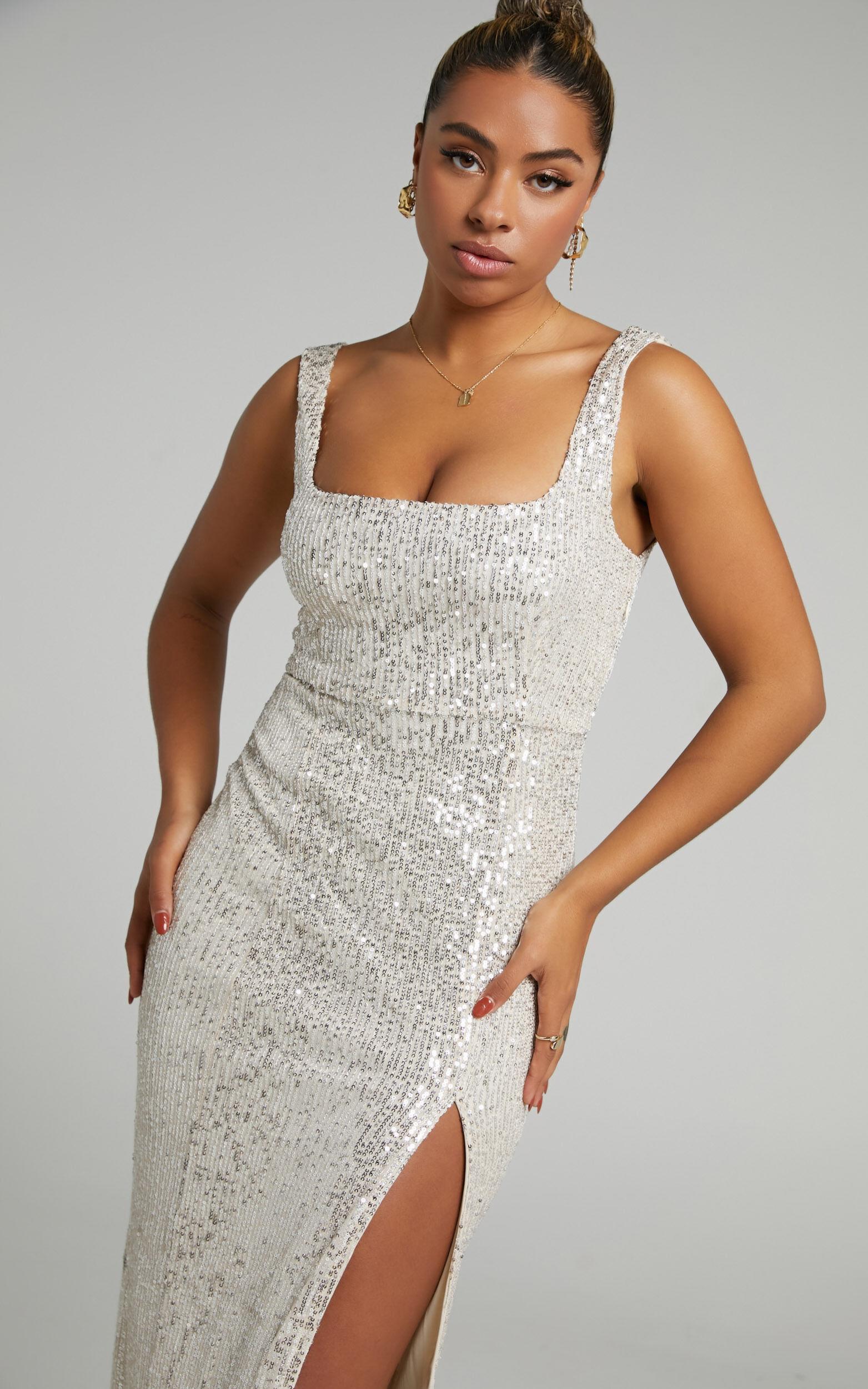 Glimmer Love Square Neck Midi Dress in Gold Sequin - 06, GLD1, super-hi-res image number null