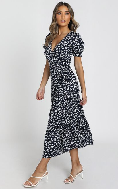 Emery Wrap Maxi Dress in navy floral - 6 (XS), Navy, hi-res image number null