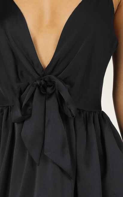 Miracle Worker Dress in navy satin - 12 (L), Navy, hi-res image number null