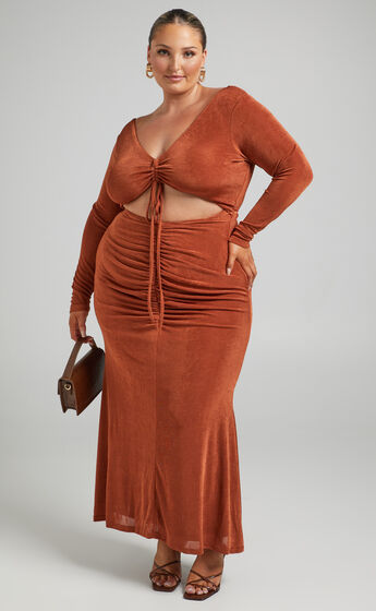 Lina long sleeve maxi dress with cut out in Walnut