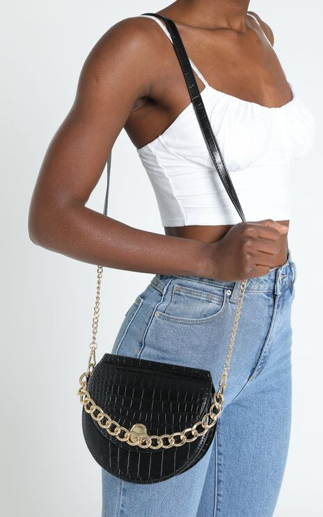 Best Pair Chain Sling Bag in black croc and gold