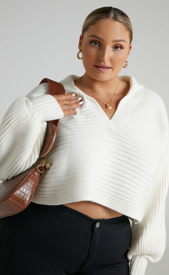 Elata Oversized Collar Jumper with in Off White