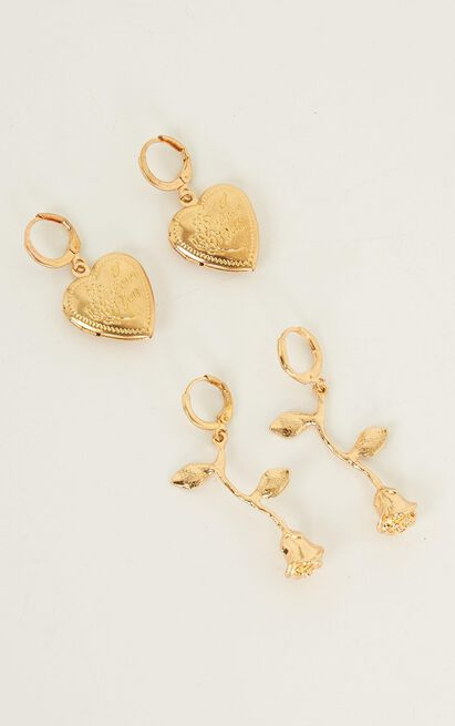 Look In Your Heart Earrings Set In Gold, , hi-res image number null