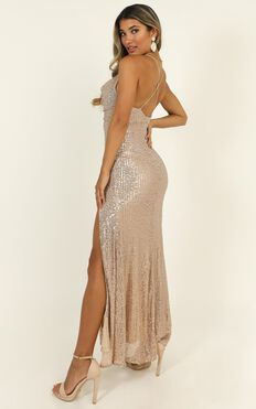 Together With You Maxi Dress In Rose Gold Sequin