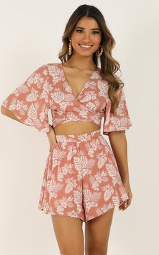 Waiting For Your Love Two Piece Set In Coral Floral