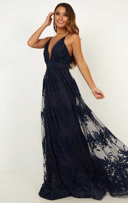 Promenade maxi dress in navy - 14 (XL), Navy, hi-res image number null