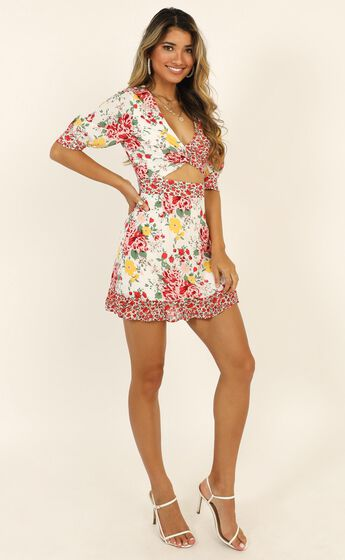 Holiday Mood Dress In White Floral