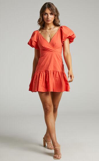 Brighton Puff Sleeve Ruffle Mini Dress in Orange