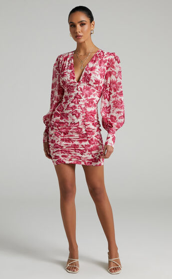 Runaway The Label - Stevie Dress in Hot Pink Floral
