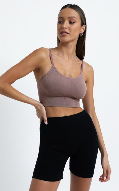 Pauly Activewear Crop Top in Mocha