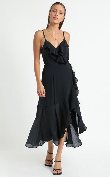 Minkpink - Merindah Midi Wrap Dress in Black