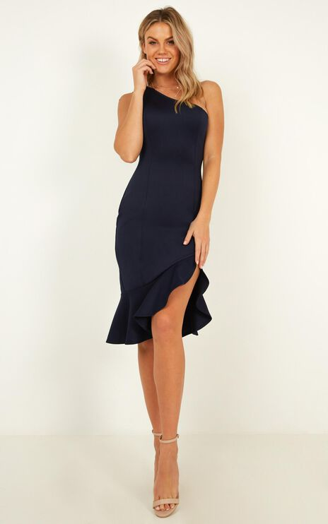 Stripped Back Dress In Navy