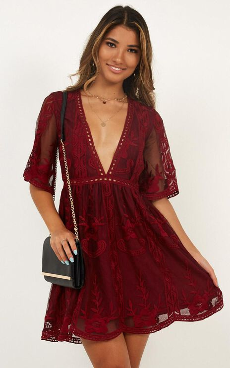 Rolling The Deep Dress In Wine Lace
