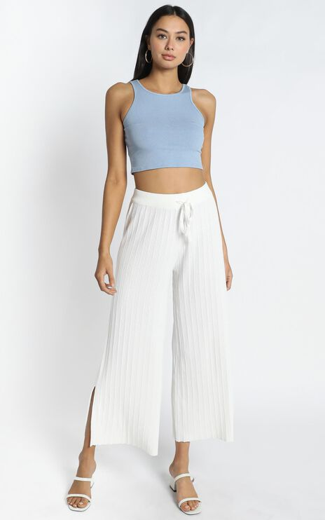 Blair Ribbed Pants in White
