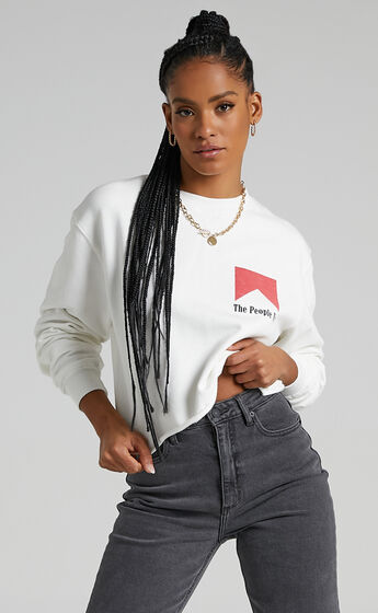 The People Vs - Smoker Cropped Crew Neck Jumper in Vintage White