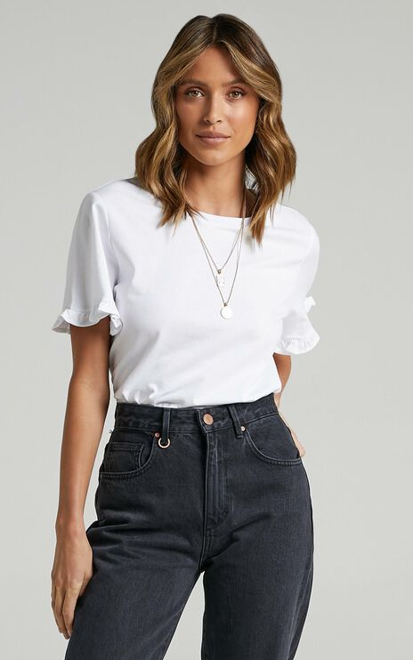 Closer To Home Ruffle Sleeve Tee in White
