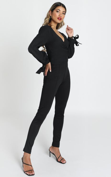 Georgina Wrap Blouse In Black