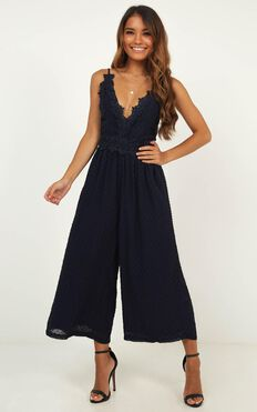 We Could Be Friends Jumpsuit In Navy