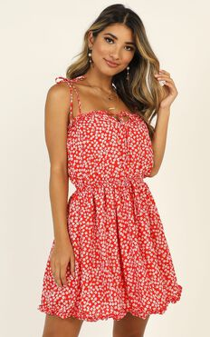 Fruit Picking Dress In Red Floral