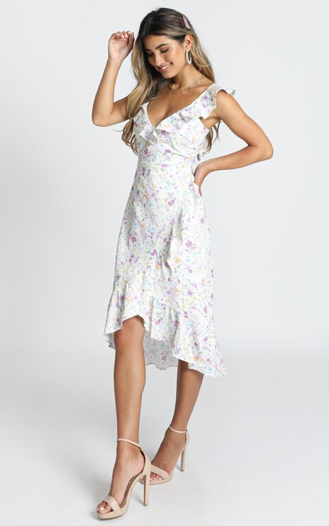 Antonella Midi Dress In Purple Floral