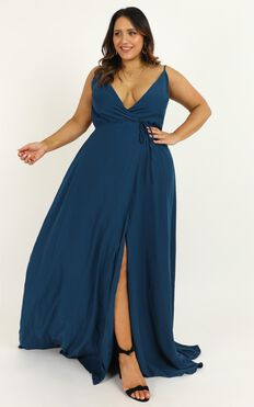 Starry Eyes Sparkling Dress In Teal Satin