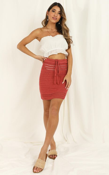 Whats Your Sign Skirt In Dusty Rose Crochet