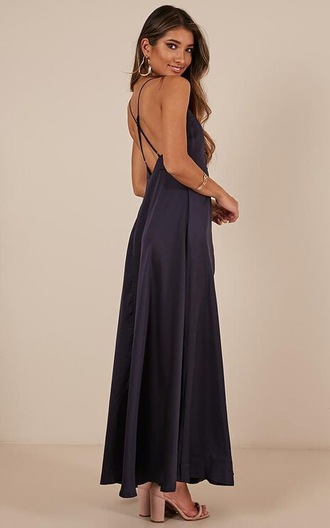 Cant Explain Dress In Navy Satin