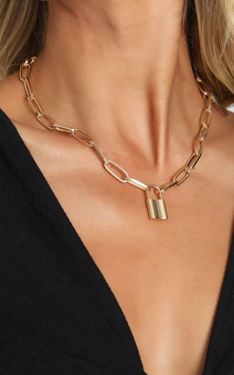 Locked Away Padlock Chain Necklace In Gold