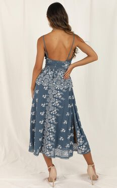 Closer To You Dress In Dusty Blue Embroidery