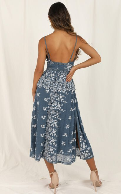Closer To You Dress in dusty blue embroidery - 14 (XL), Blue, hi-res image number null