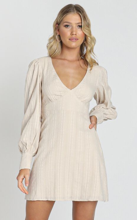 Reckless Decisions Dress In Beige