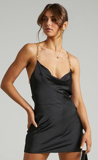 Asha Chain Back Cowl Neck Mini Dress in Black