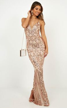 Capture Recapture Dress In Rose Gold Sequin