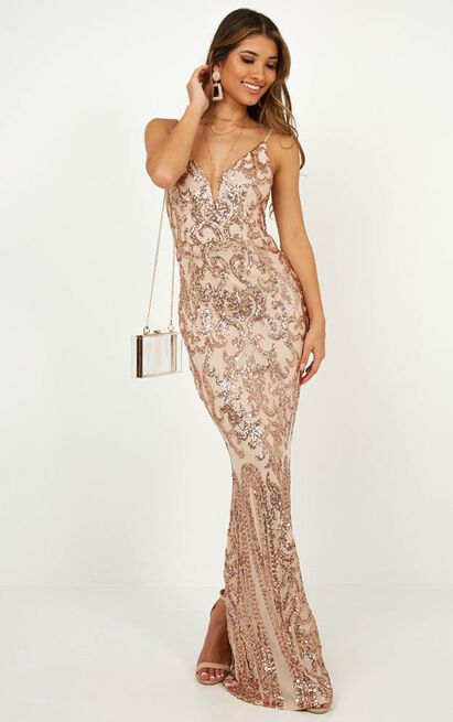 Capture Recapture Dress In Rose Gold Sequin - 14 (XL), Rose Gold, hi-res image number null