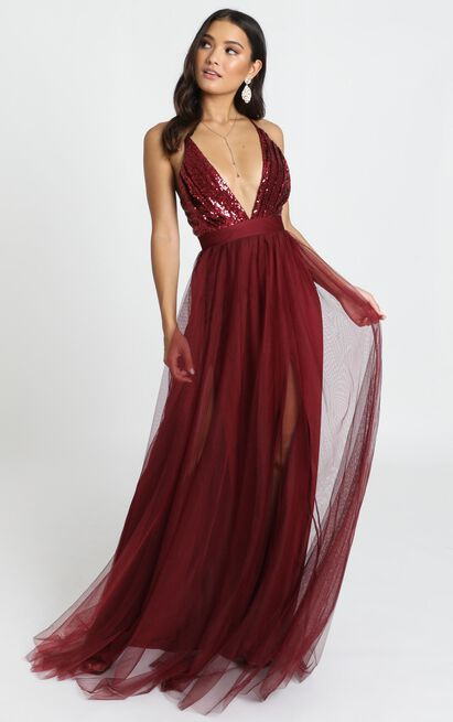 San Diego Maxi Dress in wine sequin - 8 (S), Wine, hi-res image number null