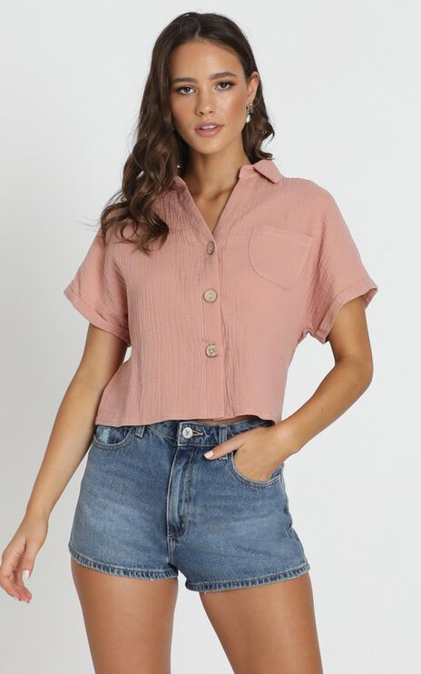 Kali Textured Shirt In Blush