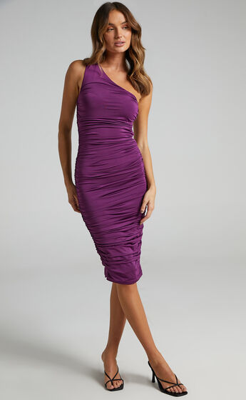 Rosy Slinky One Shoulder Maxi Dress in Plum