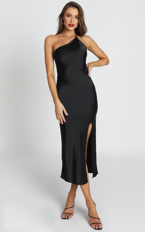 Look me Up Dress In Black Satin