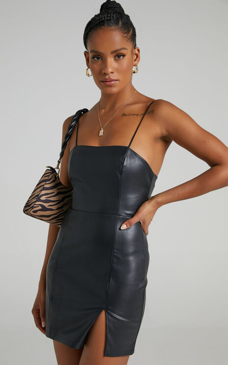 Elayn Mini Dress in Black Leatherette