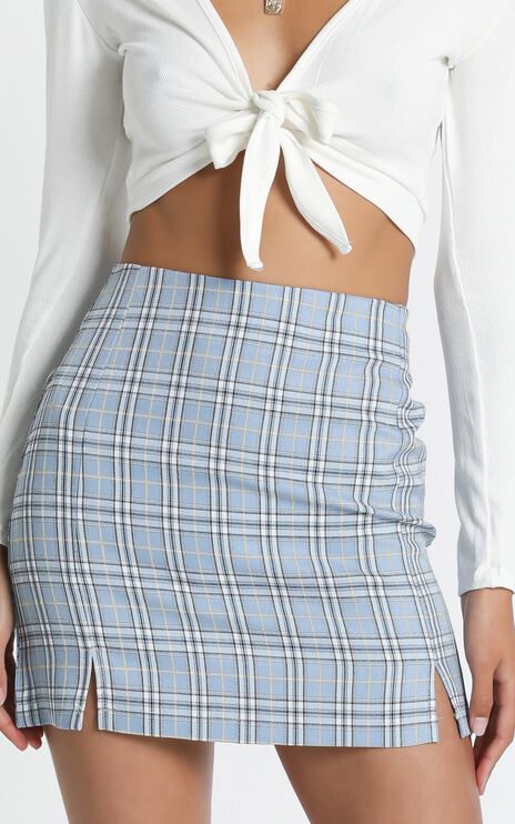 Mae Skirt in Blue check