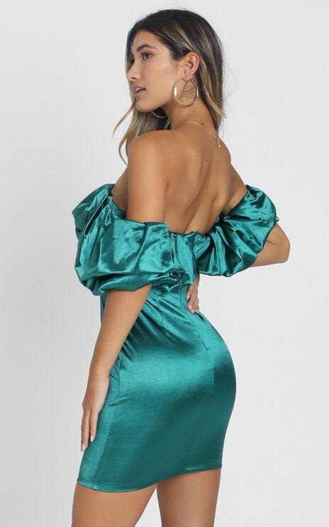 Calla Dress in Emerald Satin