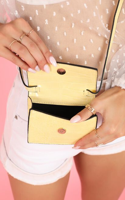Kourtney Micro Bag In Lemon Croc, Yellow, hi-res image number null
